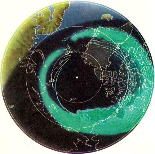 Деталь аврорального овала,наблюдаемого сверху, со стороны Северного полюса. Диффузные сияния занимают внешнюю часть однородной полосы между вечерним и полуночным секторами. Овал имеет однородную светимость в вечернем секторе и часто так широк, что заполняет все поле зрения наблюдателя на Земле. Дискретные сияния типа полос наблюдаются к полюсу от диффузных сияний. Во время пика суббури яркие формы в полуночном секторе начинают двигаться к полюсу. В утреннем секторе диффузное свечение распадается на множество структур типа полос и пятен на внешней границе овала