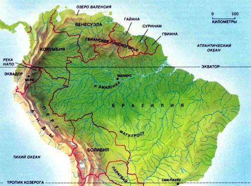 Бассейн Амазонки ограничен с востока Атлантическим океаном, а с других сторон — возвышенностями: это Гвианское плоскогорье на севере, громадные Анды на западе и плато Мату-Гросу на юге. Дождевой лес (тёмно-зелёный), занимающий всю территорию бассейна, можно встретить до высоты 1200 м над уровнем моря
