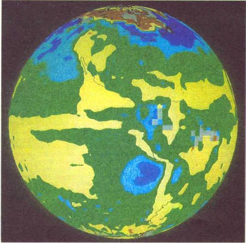 Влияние облачности на температуру Земли определялось по данным измерений в ходе «Эксперимента по изучению радиационного баланса Земли». Области, где облака способствовали сильному охлаждению поверхности Земли, окрашены синим; зеленый цвет соответствует несколько меньшему охлаждению; желтый означает, что влияние облаков не существенно, а коричневый — что благодаря облакам поверхность нагревается. Снимок предоставлен В. Раманатаном из Чикагского университета
