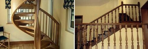 Винтовая лестница и балясины для лестницы из дерева