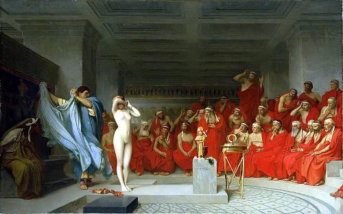 Гетера Фрина перед ареопагом. Став моделью для скульптуры Афродиты, она совершила кощунство, но была оправдана, поразив судей своей совершенной красотой