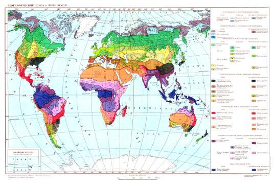 Карта расположения географических поясов и зон Земли