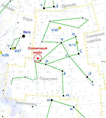 Апекс Солнца в созвездии Геркулеса