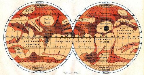 Одна из первых попыток составить карту поверхности Марса, сделанная после его сближения с Землёй в 1877 и 1881 годах