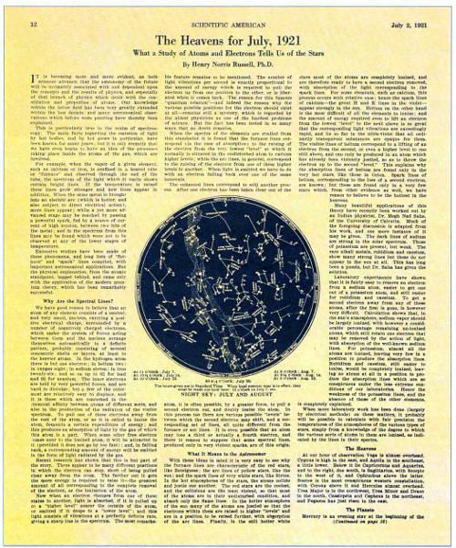 Страница июльского номера журнала «Scientific American» за 1921 г. со статьей Рассела «Что могут поведать о звездах атомы и электроны»