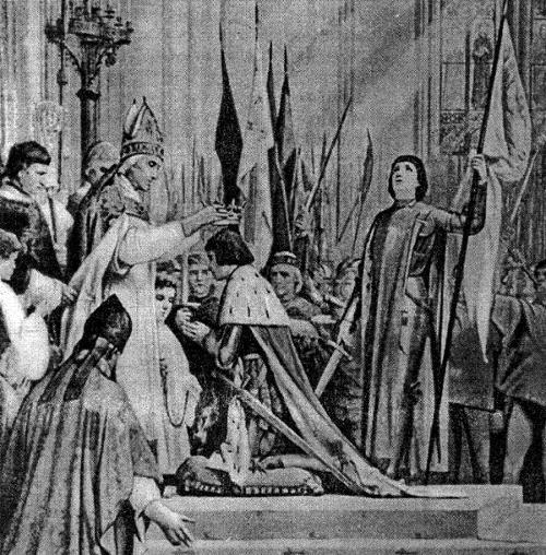 Жанна д'Арк на коронации Карла VII в Реймсе